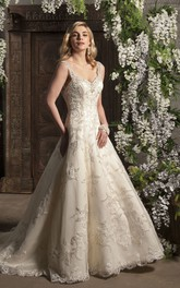 Strapped A-line Beaded Wedding Dress With Tulle And Court Train