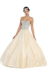 Long Jeweled Sweetheart Strapless Satin Sleeveless Backless Ball Gown