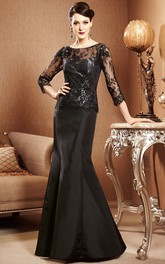 Illusion Lace Bodice Fishtail Long-Sleeved Gown