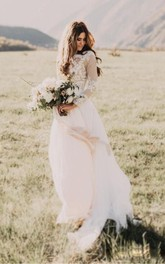 Bohemian Lace Long Sleeves Floor Length A Line Applique Chiffon Boho Bridal Gowns
