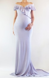 Off-the-shoulder Short Sleeve Pleated Ruched Ruffled Maternity Dress