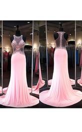 Chiffon Rhinestoned Brush-Train Sleeveless Gown