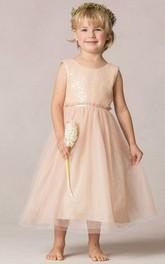 Tea-Length Sequined A-Line Tulle Flower Girl Dress