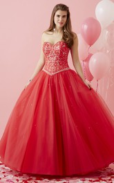 Sweetheart Jeweled Strapless Sleeveless Lace-Up Tulle Ball Gown