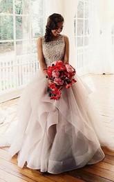 Sleeveless Tulle Ruffle Beadeded Gorgeous Wedding Dress