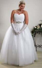 Sweetheart Tulle Satin Ball Gown With Embellished Waist