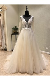 Sexy Plunging Neckline Tulle Floor-Length A-Line Long Sleeve Illusion Deep-V Back Wedding Dress