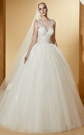 Bateau Illusion Sleeveless Tulle Ball Gown With Appliques