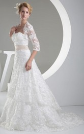 Jacket Lace Appliques A-Line Strapless Dress