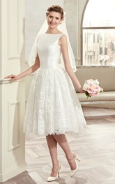 Bateau Sleeveless Satin A-line short Wedding Dress With Lace skirt