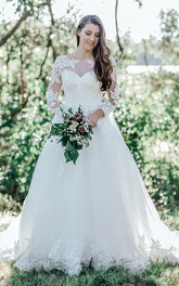 Modest Bateau Ball Gown Lace Tulle Court Train Wedding Dress with Appliques