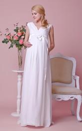 Chiffon V-Neckline Satin Bow A-Line Gorgeous Gown