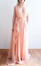 Nude Blush Chiffon One Of A Kind Dress