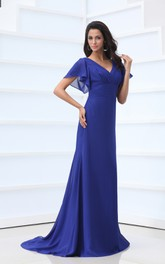 Chiffon Bell-Sleeve V-Neckline Ethereal Floor-Length Pleated Dress
