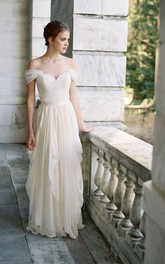 Off-the-shoulder A-line Pick Up draped Wedding Dress