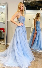 Spaghetti Square Tulle Sleeveless Floor-length Backless Tied Back A Line Prom Dress