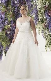 Tulle Illusion A-line Ball Gown plus size wedding dress With Corset Back