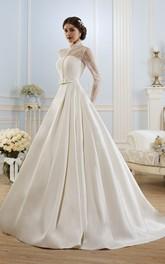 High-Neckline Lace Satin Ball-Gown Princess Illusion Dress