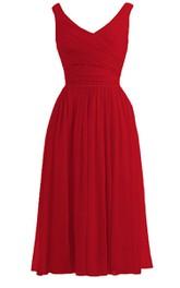 Sleeveless V-neck Chiffon short Bridesmaid Dress With Ruching