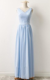 V-neck Sleeveless Floor-length Chiffon Bridesmaid Dress With Zipper