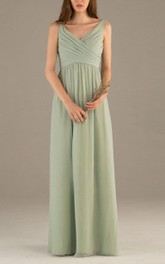 Empire Chiffon V-Neckline Sleeveless Long A-Line Dress