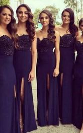 Floor-Length Chiffon A-Line Sweetheart Lace Front-Slit Dress