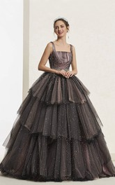 Beaded Luxury Vintage Sleeveless Square Neckline Ballgown With Lace-up And Ruffled Tiers