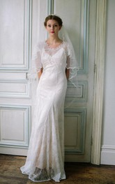 Scoop-neck Short-Sleeve Sheath Wedding Dress With Low-V Back