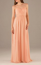 Spaghetti Straps Sweetheart Pleated A-line Chiffon Long Dress