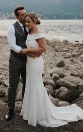 Elegant Chiffon Mermaid Off-the-shoulder Wedding Dress