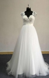 Tulle Satin Sash Lace Bodice Cap-Sleeve V-Neckline Dress