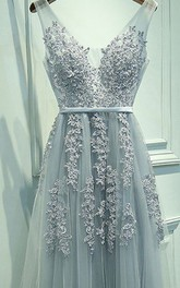V-neck Lace Tulle Sleeveless Floor-length Appliques Sash Ribbon Dress