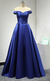 Off-the-shoulder A-line Satin Dress With Corset Back And Pleats