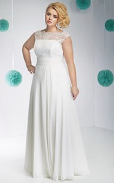 Bateau Cap-sleeve Sleeveless Chiffon Lace Dress With Corset Back