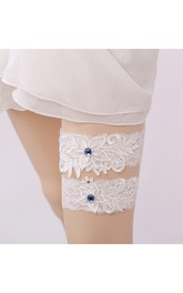 European Broadband Lace Bead Two-piece Elastic Bridal Garter Belt Within 16-23inch