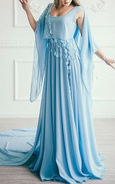 Chiffon Empire Pleated Floor-length Dress With wrap And Court Train