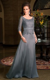 Scoop-neck Long Sleeve 3-4-sleeve Mother of the Bride Dress