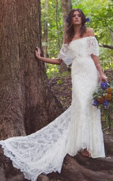 Scalloped Floor-Length Train Off-Shoulder Boho Bridal Dress