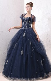 Tulle Overlay Lace Appliques A-Line Exquisite Ball Gown