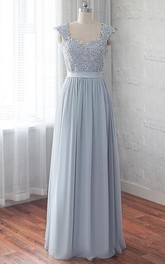 Cap-sleeve Pleated Floor-length Dress With Appliques And Corset Back