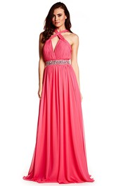 Haltered Chiffon Ruched Dress With Jeweled Waist