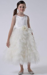 Tulle Ruffled Tiered Floral Satin Flower Girl Dress
