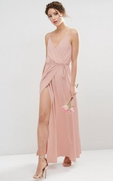Sheath Spaghetti Chiffon Bridesmaid Dress With Split Front