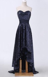 Allover Brush-Train High-Low Sweetheart Sequined Dress