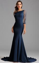Mermaid Floor-Length Court Train Bateau 3 Taffeta Appliques Zipper Dress