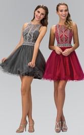 A-Line Jeweled Ruffled Short Mini Sleeveless Scoop-Neck Dress