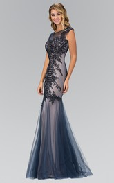Column Embroidery Floor-Length Bateau Tulle Cap-Sleeve Illusion Dress