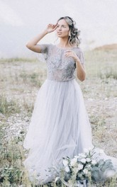 Boho Simple Tulle Wedding Dress With Lace Appliques And Open Back