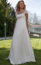 maternity Short Sleeve Empire long Wedding Dress With Lace