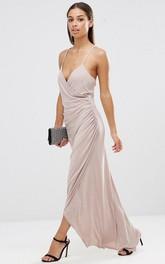 Ankle-Length Sleeveless Spaghetti Side-Draped Chiffon Bridesmaid Dress
